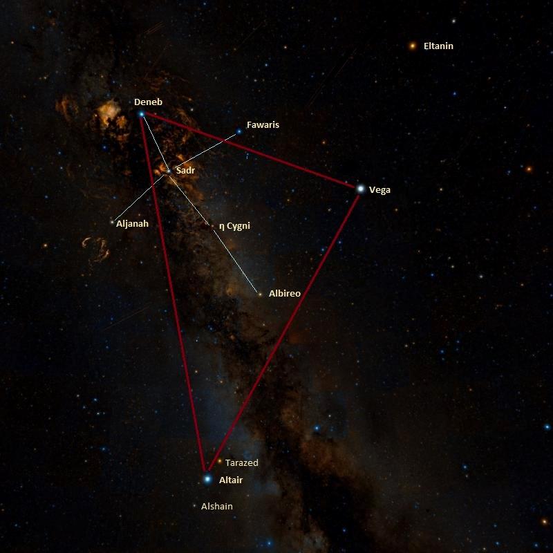 summer triangle,northern cross,deneb,altair,vega