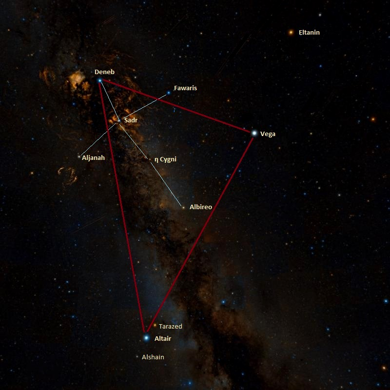 summer triangle,northern cross,deneb,altair,vega