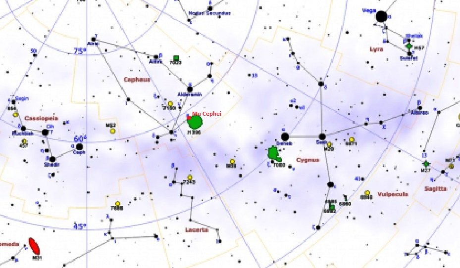 find mu cephei,garnet star location