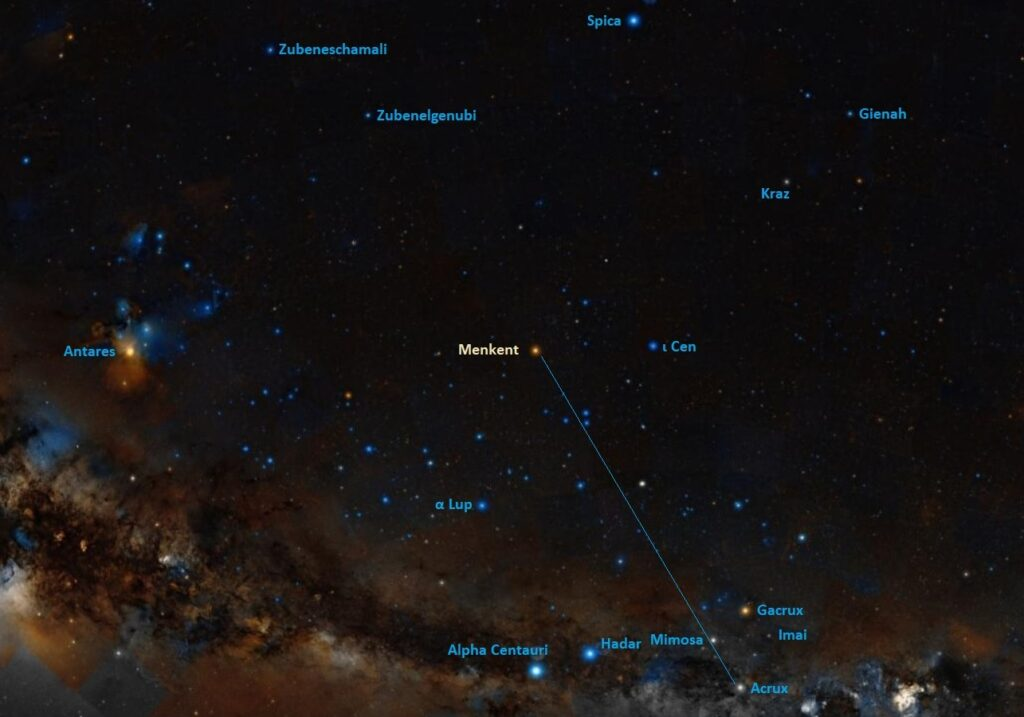 where is menkent,how to find theta centauri