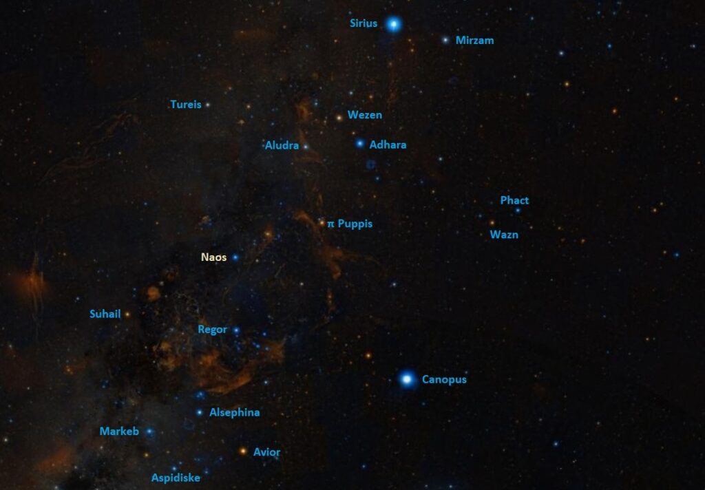 how to find naos,where is naos in the sky