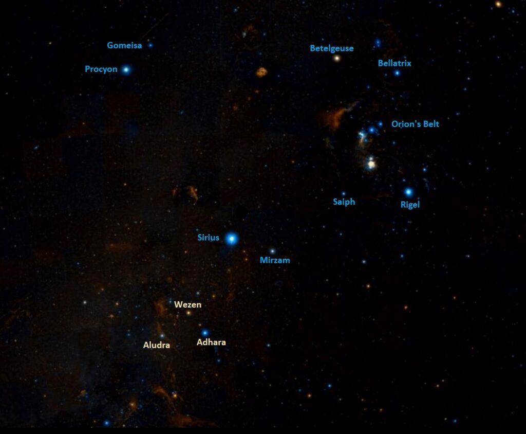 how to find wezen,where is wezen in the sky