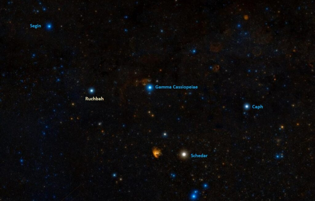 how to find ruchbah,where is delta cassiopeiae