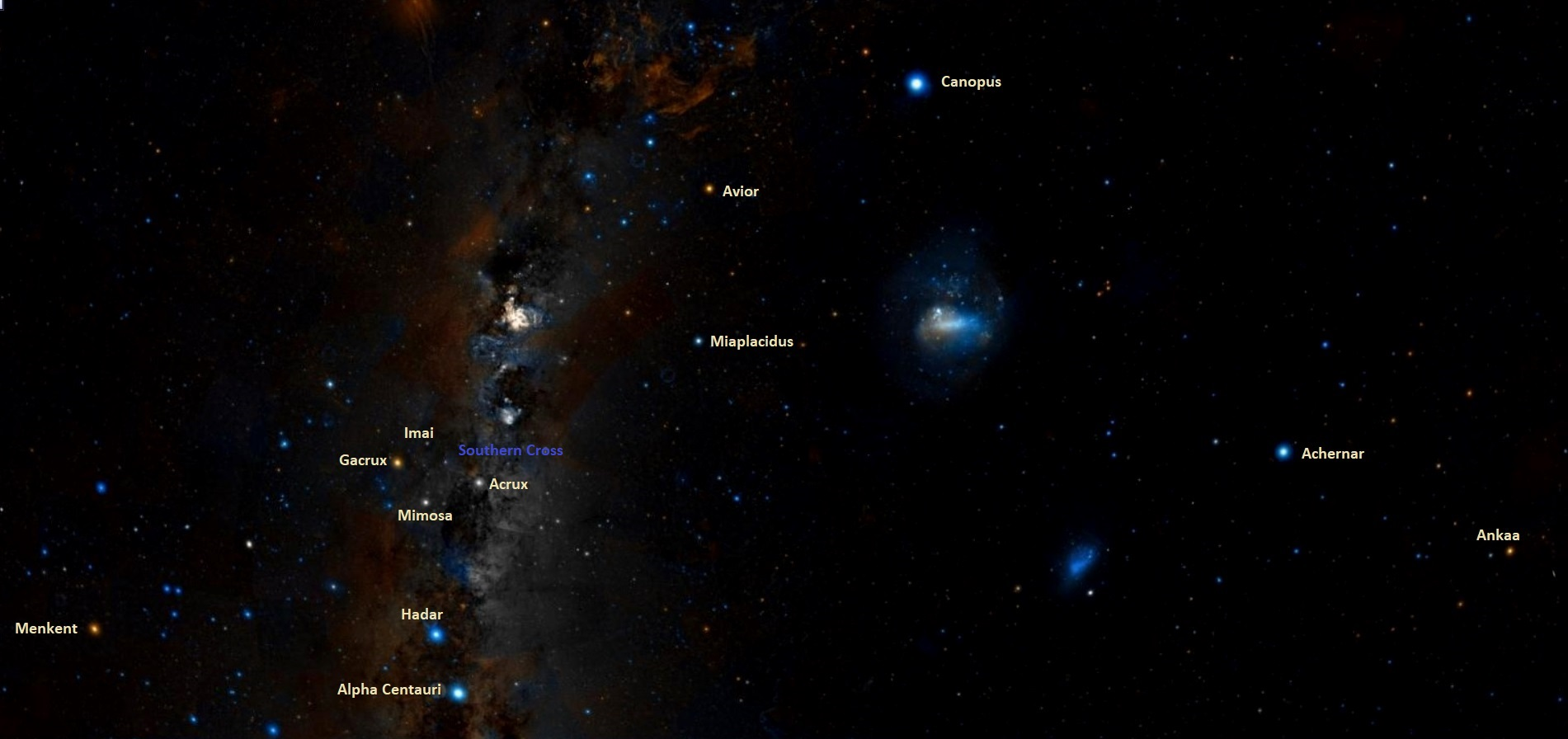 brightest stars in the southern hemisphere