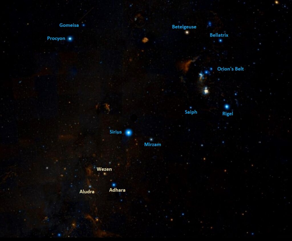 how to find aludra,where is eta canis majoris